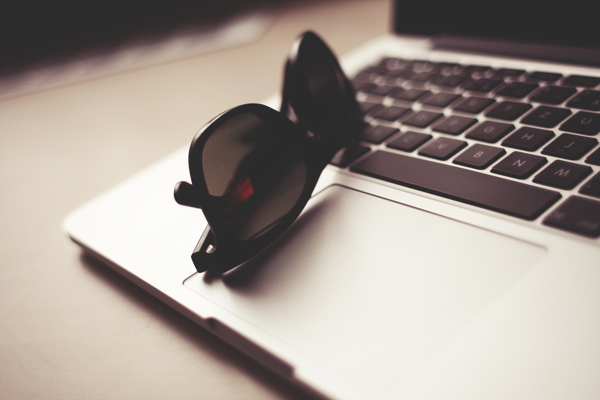 computer and sunglasses